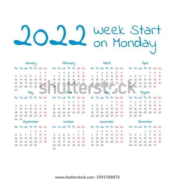 2022 Week Calendar.2022 Calendar Week Start On Monday Stock Vector Royalty Free 1091588876