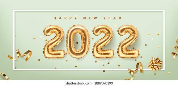 2022 golden decoration holiday on green background. Happy new year  holiday. Shiny party background. Gold foil balloons numeral 2022 with realistic festive objects