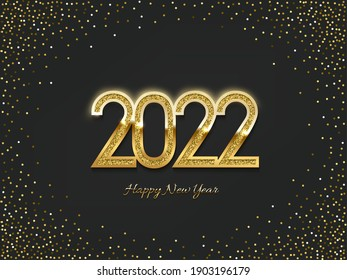 2022 golden New Year sign on winter holiday background. Vector illustration.