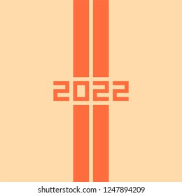 2022 Happy New Year or Christmas. Absracts vector illustration of two diagonal straight roads. Top view. Highway. Speedway banner. Minimalistic style.