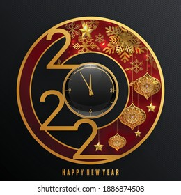 2022 Happy new year christmas design template. logo Design for  greeting cards or for branding, banner, cover, card Happy new year 2022 with paper cut art and craft style on paper color background.