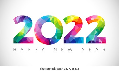 2022 A Happy New Year congrats concept. Stained glass logotype. Beautiful snowy backdrop. Abstract isolated graphic design template. Decorative numbers. Coloured digits. Creative colorful decoration.