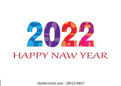 2022 Happy new year design template. Logo Design for calendar, greeting cards or print. Minimalist design trendy backgrounds for branding, banner, cover, card. Vector illustration.