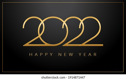 2022 Happy New Year greeting card in gold and black color - golden shine 2022 lettering on black background - vector