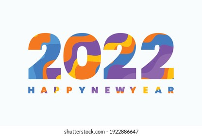 2022 Happy New Year, Multicolor number 2022, Multicolor New Year Banner with white background