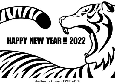 2022 New Year's card with a big mouth open and a barking white tiger. White and black. Vector illustration.