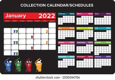 2022 recycle and trash bin collection calendar organizer set vector