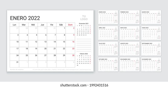 2022 Spanish calendar. Planner template. Week starts Monday. Vector. Calender layout with 12 month. Table schedule grid. Yearly stationery organizer. Horizontal monthly diary. Simple illustration.