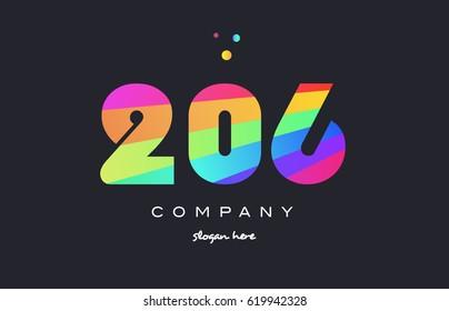 206 creative color green orange blue magenta pink number digit company logo vector icon spectrum