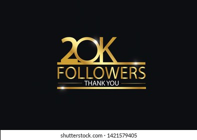 20K, 20.000 Followers celebration logotype. anniversary logo with golden and Spark light white color isolated on black background, vector design for celebration, Instagram, Twitter - Vector