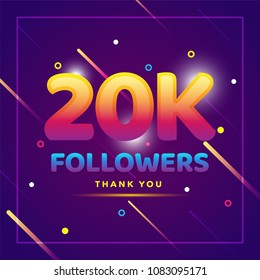 20k or 20000 followers thank you colorful background and glitters. Illustration for Social Network friends, followers, Web user Thank you celebrate of subscribers or followers and likes