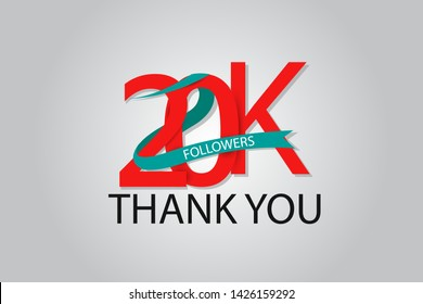 20K, 20.000 Thank You Followers anniversary Red logo with Tosca ribbon. For Social Medias - Vector
