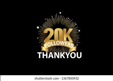20K Followers anniversary, minimalist logo years, jubilee, greeting card. invitation. Sign Ribbon Gold space vector illustration on black background - Vector