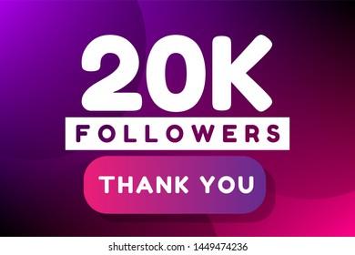 20K followers. colorful minimal gradient purple pink vector illustration banner