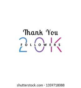 20K followers greeting. Emblem for social media.