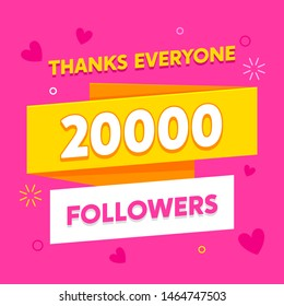 20k followers greeting social media banner template. Subscribers congratulation with hearts symbols. Internet advertisement campaign. Social networks promotional pink poster modern design