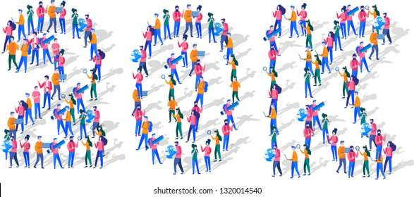 20K Followers Isometric Vector Concept, Group of business people are gathered together in the shape of 20000 word, for web page, banner, presentation, social media, Crowd of little people. teamwork