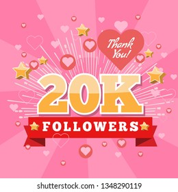 20K Followers and thank you banner background with heart bubble icons. Template for social media post. Vector Cover for your design.