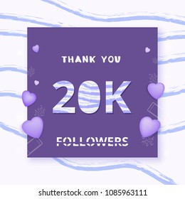 20K followers thank you card. Celebration 20000 subscribers  banner. Template for social media. Vector illustration.