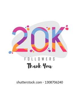20k followers thank you design. Vector illustratoration