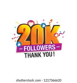 20K followers thank you post with decoration, for social media networks.
