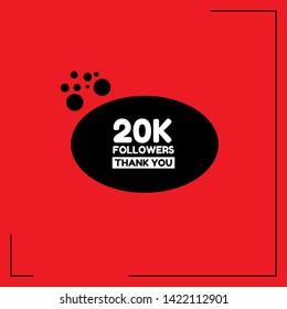 20k Followers - thank you. red design template.20 000 followers - card