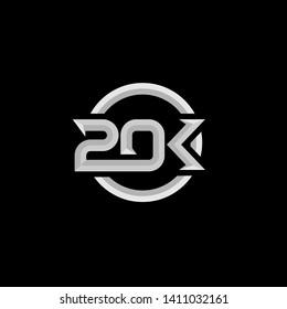 20k letter initial logo icon design vector illustration