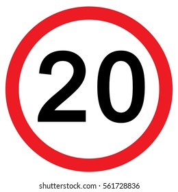 20Mph Speed Limit Sign, vector, Illustration
