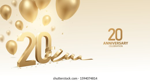 20th Anniversary celebration background. 3D Golden numbers with bent ribbon, confetti and balloons.