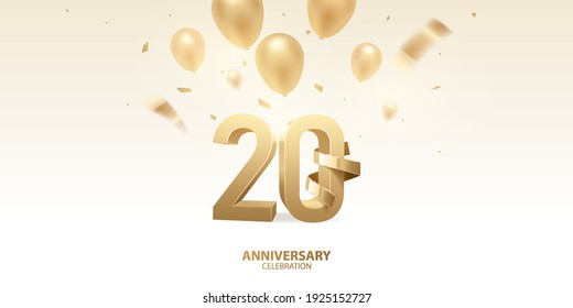 20th Anniversary celebration background. 3D Golden numbers with golden bent ribbon, confetti and balloons.