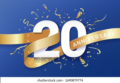 20th Anniversary celebration banner template. Big numbers with sparkles golden confetti and glitters ribbon. Festive event blue background. Realistic 3d style. Vector illustration.