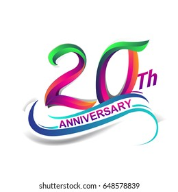 20th anniversary celebration logotype green and red colored. twenty years birthday logo on white background