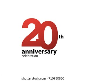 20th anniversary celebration logotype. anniversary logo simple isolated on white background, vector design for celebration, invitation card, and greeting card