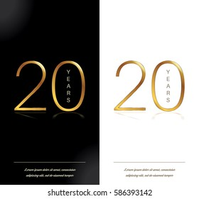 20th anniversary decorated greeting/invitation card template.