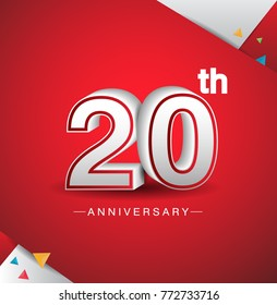 20th anniversary design with white number  on red background and confetti for celebration