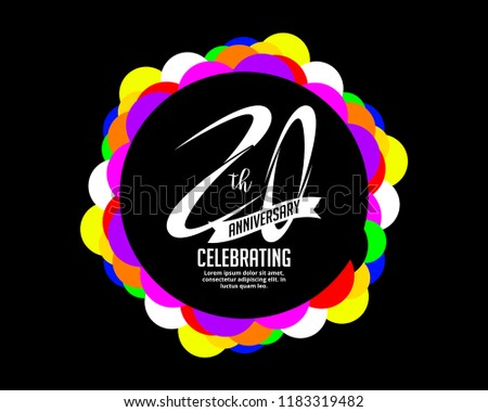 20th Anniversary Invitation Cards Template Stock Vector Royalty