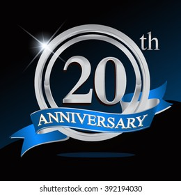 20th anniversary logo with blue ribbon and silver ring, vector template for birthday celebration.