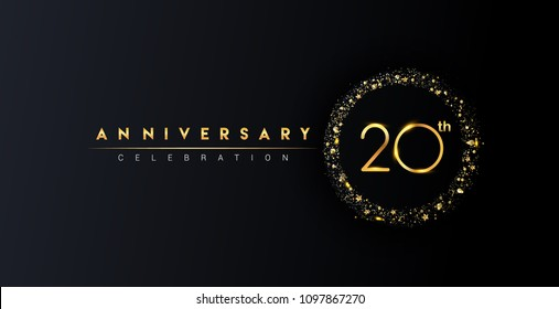 20th anniversary logo with confetti and golden glitter ring isolated on black background, vector design for greeting card and invitation card.
