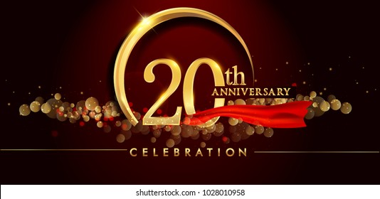20th anniversary logo with golden ring, confetti and red ribbon isolated on elegant black background, sparkle, vector design for greeting card and invitation card