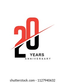 20th anniversary logo red and black swoosh design isolated on white background for anniversary celebration.