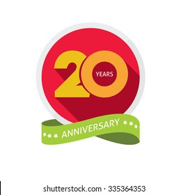 20th anniversary logo template with shadow on circle  number 2 (two). 20 years icon. Twenty years birthday party symbol. Twentieth holiday, sticker, badge, ribbon, banner, poster, logotype, emblem tag