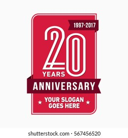 20th anniversary logo. Vector and illustration.