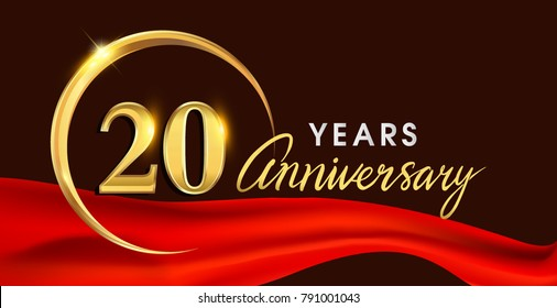 20th anniversary logotype with golden ring isolated on red ribbon elegant background, vector design for birthday celebration, greeting card and invitation card.