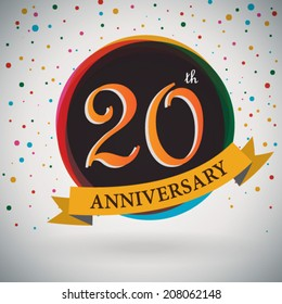 20th Anniversary poster / template design in retro style - Vector Background
