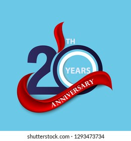 20th anniversary sign and logo celebration symbol with red ribbon