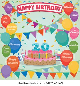 20th Birthday cake and decoration background in flat design with balloons and candles