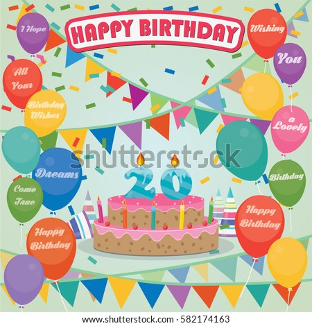 20th Birthday Cake And Decoration Background In Flat Design With Balloons Candles