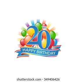 20th colorful happy birthday logo with balloons and burst of light