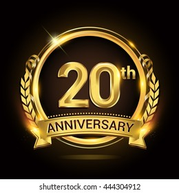 20th golden anniversary logo, 20 years anniversary celebration with ring and ribbon, Golden anniversary laurel wreath design.