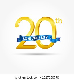 20th golden Anniversary logo with blue ribbon isolated on white background. 3d gold 20th Anniversary logo